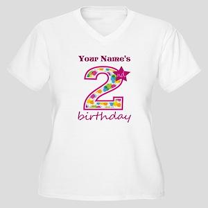 2nd Birthday Spla Womens Plus Size V Neck T Shirt