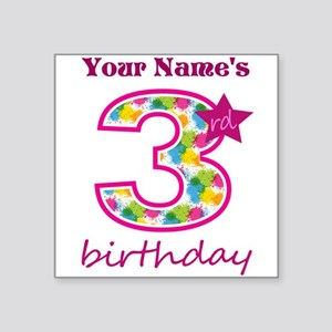 "3rd Birthday Splat - Person Square Sticker 3"" x 3"""