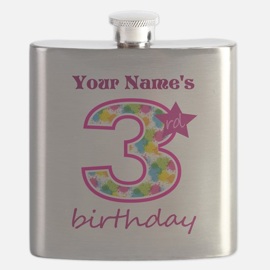 3rd Birthday Splat - Personalized Flask