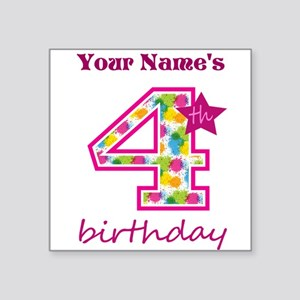 "4th Birthday Splat - Person Square Sticker 3"" x 3"""