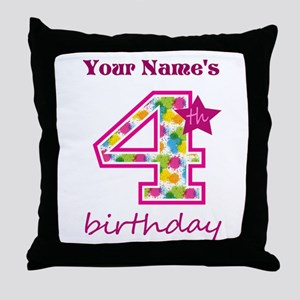 4th Birthday Splat - Personalized Throw Pillow