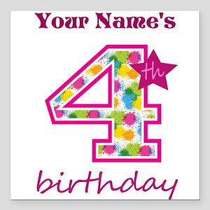 "4th Birthday Splat - Per Square Car Magnet 3"" x 3"""