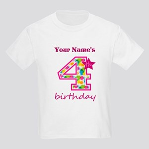 4th Birthday Splat - Personaliz Kids Light T-Shirt