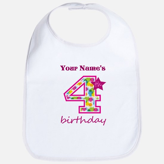 4th Birthday Splat - Personalized Bib