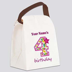 4th Birthday Splat - Personalized Canvas Lunch Bag