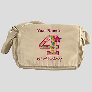 4th Birthday Splat - Personalized Messenger Bag