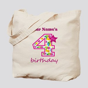 4th Birthday Splat - Personalized Tote Bag