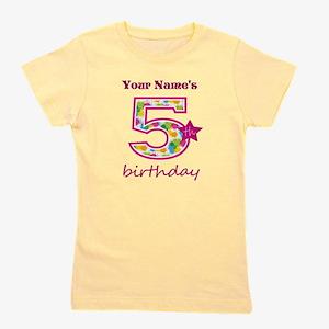 5th Birthday Splat - Personalized Girl's Tee
