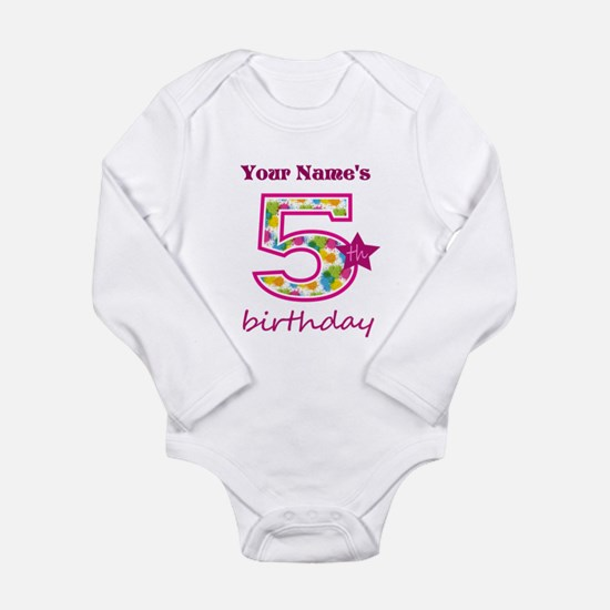 5th Birthday Splat - P Long Sleeve Infant Bodysuit
