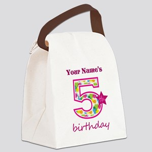 5th Birthday Splat - Personalized Canvas Lunch Bag