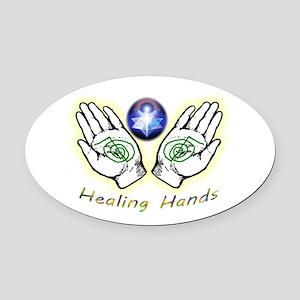 Healing Hands Oval Car Magnet
