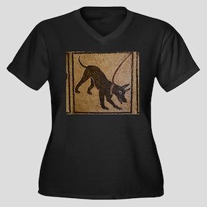 Pompeii Dog Women's Plus Size V-Neck Dark T-Shirt