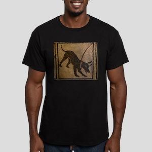 Pompeii Dog Mosaic Men's Fitted T-Shirt (dark)