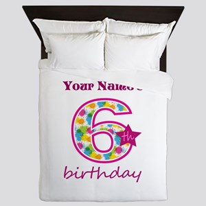 6th Birthday Splat - Personalized Queen Duvet