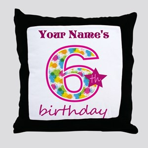 6th Birthday Splat - Personalized Throw Pillow