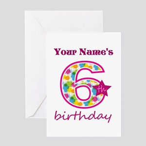 6th Birthday Splat - Personalized Greeting Card