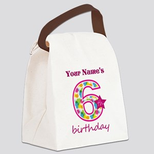 6th Birthday Splat - Personalized Canvas Lunch Bag