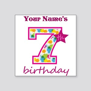 "7th Birthday Splat - Person Square Sticker 3"" x 3"""