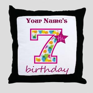 7th Birthday Splat - Personalized Throw Pillow