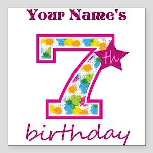 "7th Birthday Splat - Per Square Car Magnet 3"" x 3"""