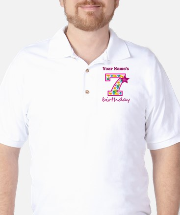 7th Birthday Splat - Personalized Golf Shirt