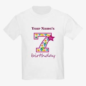 7th Birthday Splat - Personaliz Kids Light T-Shirt