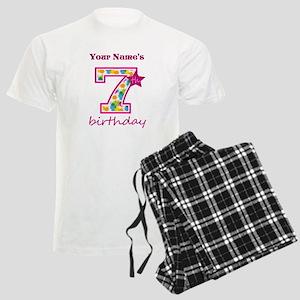 7th Birthday Splat - Personal Men's Light Pajamas