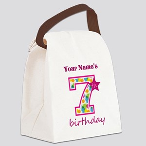7th Birthday Splat - Personalized Canvas Lunch Bag