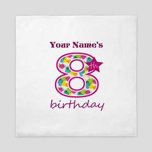 8th Birthday Splat - Personalized Queen Duvet
