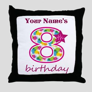 8th Birthday Splat - Personalized Throw Pillow