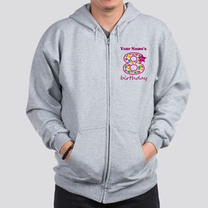 8th Birthday Splat - Personalized Zip Hoodie