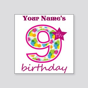 "9th Birthday Splat - Person Square Sticker 3"" x 3"""