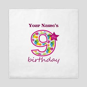9th Birthday Splat - Personalized Queen Duvet