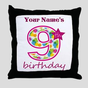 9th Birthday Splat - Personalized Throw Pillow