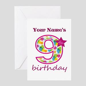 9th Birthday Splat - Personalized Greeting Card