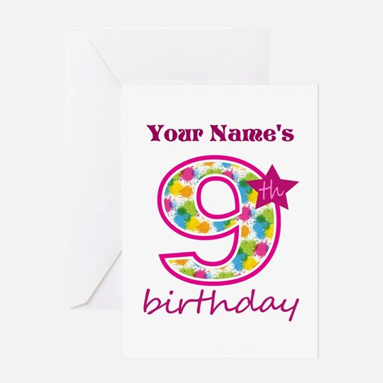 9 year old girl stationery cards invitations greeting cards more 9th birthday splat personalized greeting card bookmarktalkfo Images