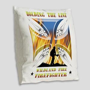 Wildland Firefighter (Holding Burlap Throw Pillow