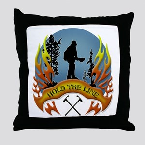 Wildland Firefighter (Hold the Line) Throw Pillow