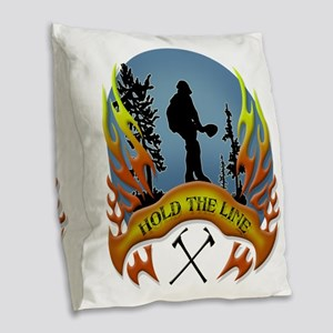 Wildland Firefighter (Hold the Burlap Throw Pillow