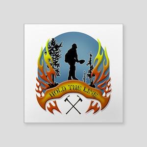 "Wildland Firefighter (Hold Square Sticker 3"" x 3"""