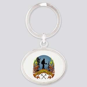 Wildland Firefighter (Hold the Line) Oval Keychain