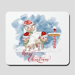 Merry Christmas North Pole Sheep Mousepad
