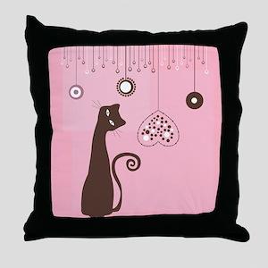 Valentine's Day Cat Throw Pillow