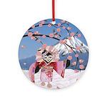 Sakura Geisha Bird Ornament (Round)