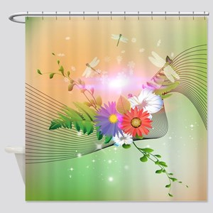Awesome flowers and dragonflies on soft background
