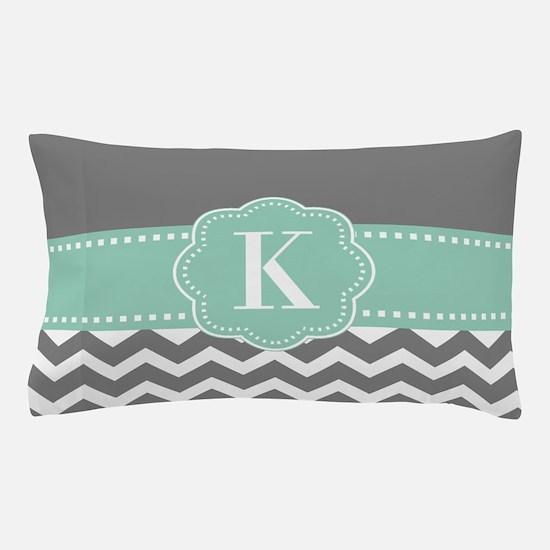 Gray Mint Chevron Monogram Pillow Case