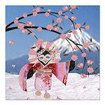 Sakura Geisha Bird Square Car Magnet 3