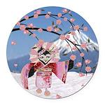 Sakura Geisha Bird Round Car Magnet