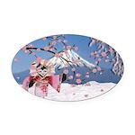 Sakura Geisha Bird Oval Car Magnet