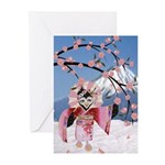 Sakura Geisha Bird Greeting Cards